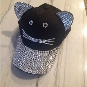 Accessories - LAST DAY! Cat ears baseball cap crystal studs meow